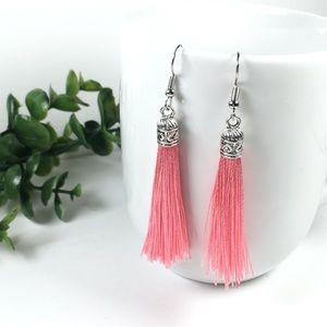 Watermelon Pink Tassel Drop Earrings